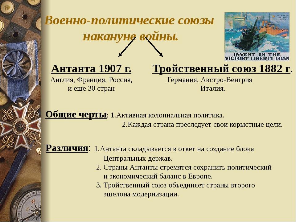 Военно-политические союзы накануне войны. Антанта 1907 г. Англия, Франция, Ро...