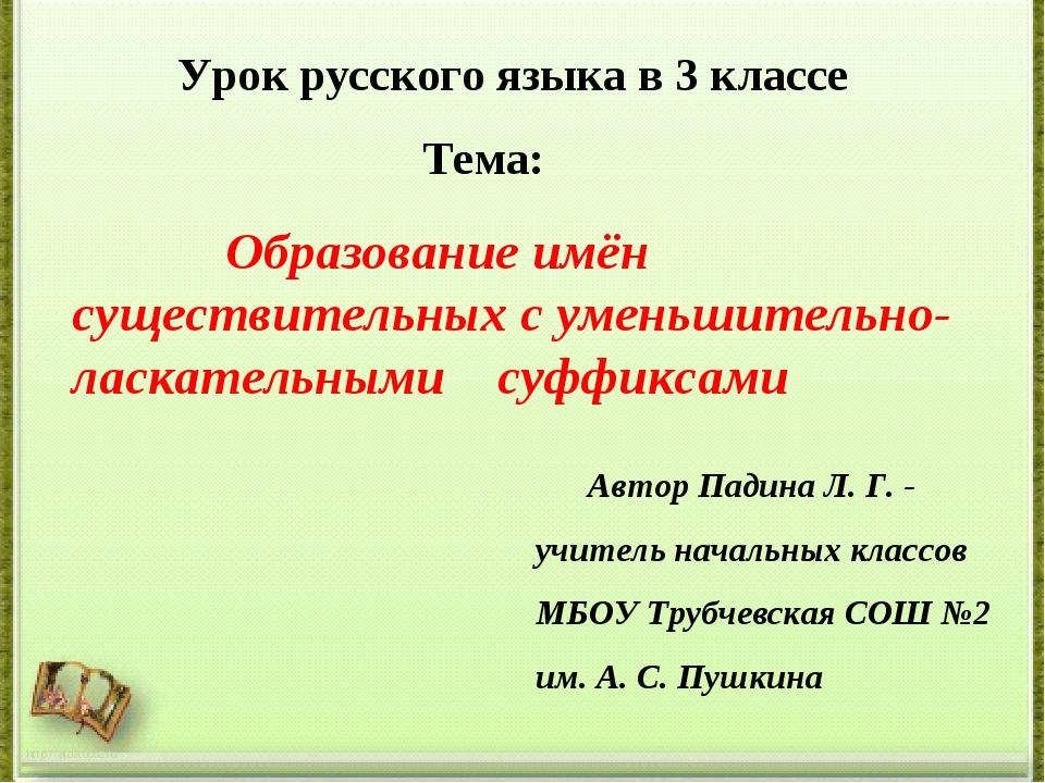 Урок русского языка в 3 классе Тема: Образование имён существительных с умен...