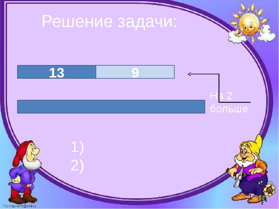 Решение задачи: 13 9 1) 2) На 2 больше