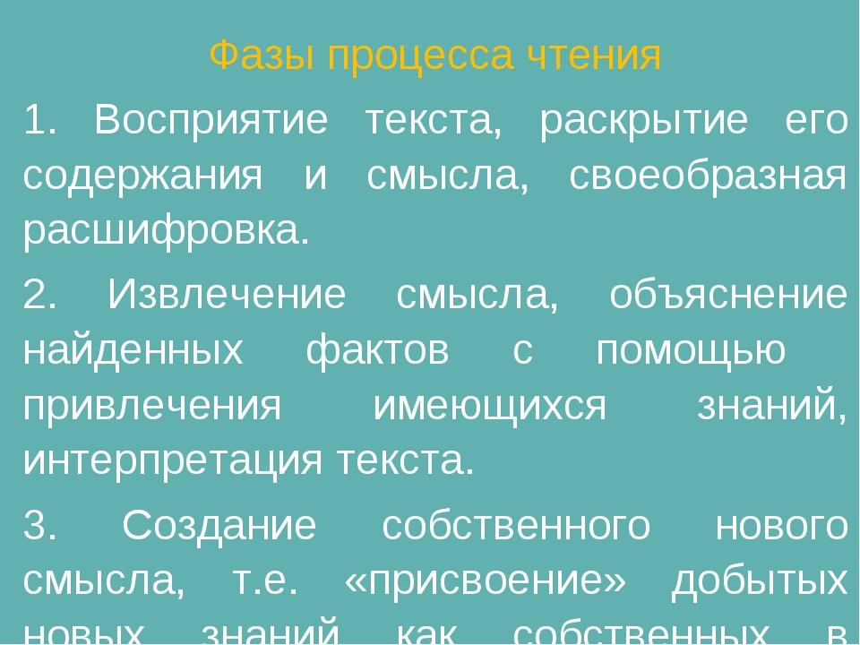 Фазы процесса чтения 1. Восприятие текста, раскрытие его содержания и смысла,...