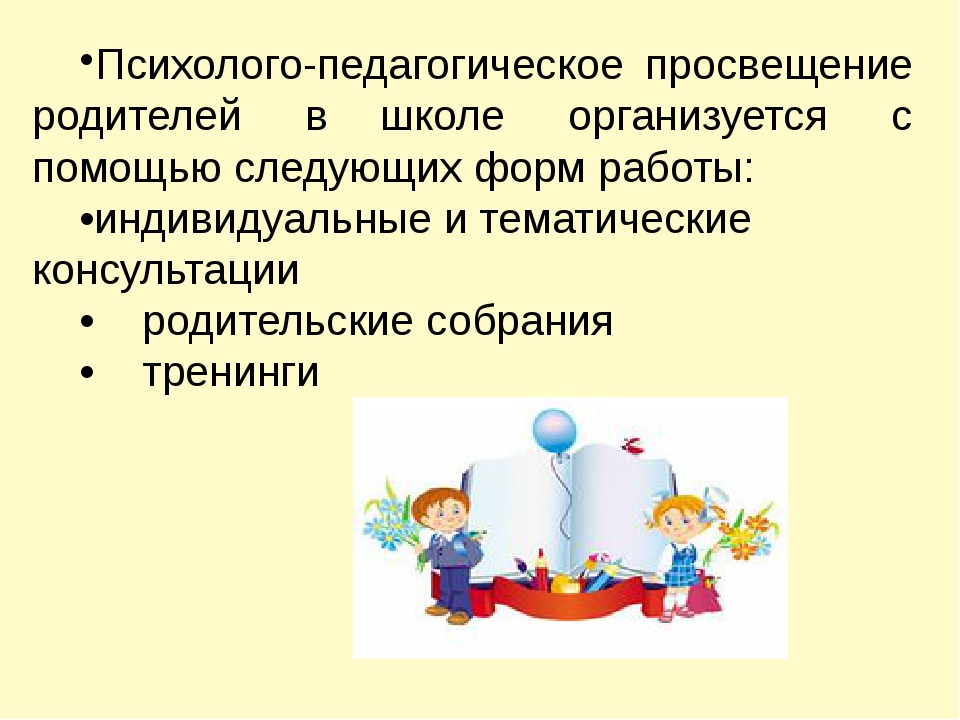 Психолого-педагогическое просвещение родителей в школе организуется с помо...