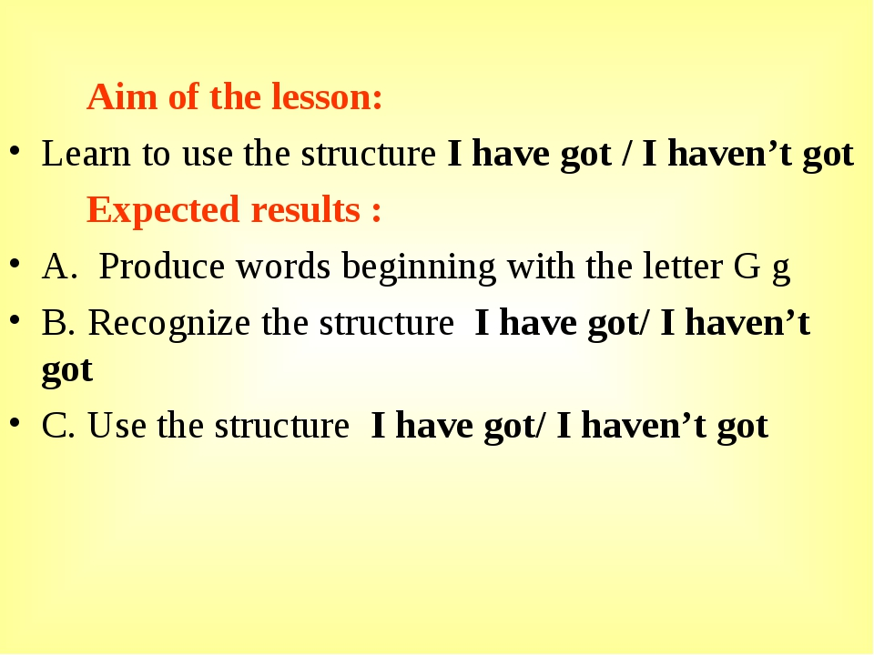 Aim of the lesson: Learn to use the structure I have got / I haven't got Exp...