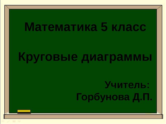 Математика 5 класс Круговые диаграммы Учитель: Горбунова Д.П.