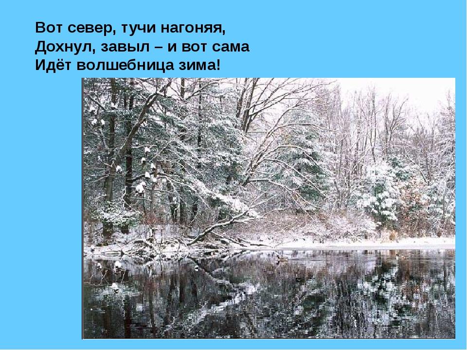 Вот север, тучи нагоняя, Дохнул, завыл – и вот сама Идёт волшебница зима!