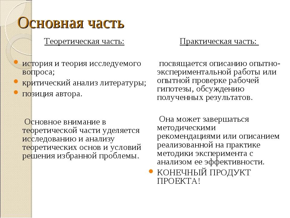 Основная часть Теоретическая часть: история и теория исследуемого вопроса; кр...