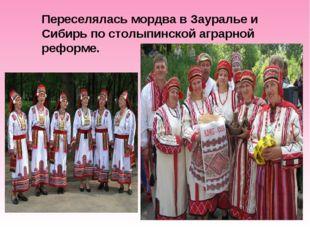 Переселялась мордва в Зауралье и Сибирь по столыпинской аграрной реформе.