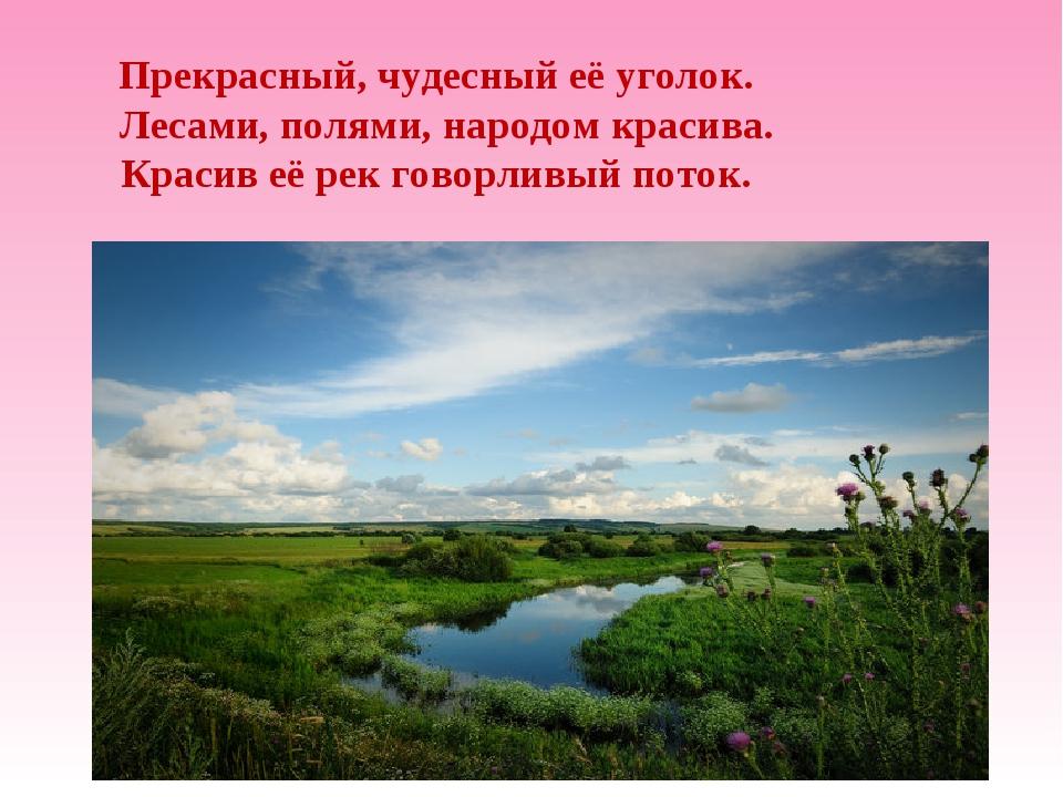 Прекрасный, чудесный её уголок. Лесами, полями, народом красива. Красив её ре...