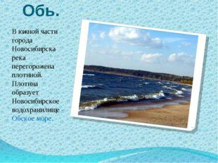 Обь. В южной части города Новосибирска река перегорожена плотиной. Плотина об
