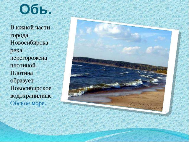 Обь. В южной части города Новосибирска река перегорожена плотиной. Плотина об...