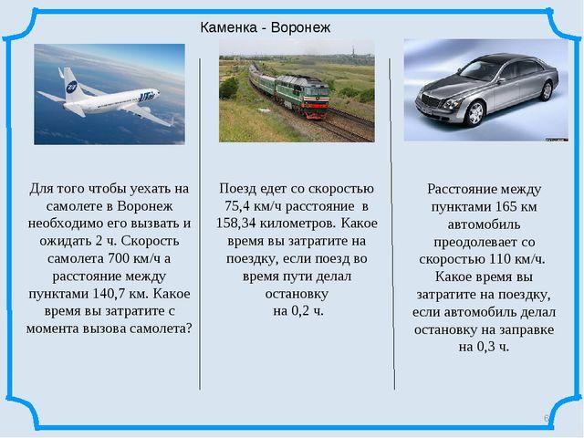 * Каменка - Воронеж Поезд едет со скоростью 75,4 км/ч расстояние в 158,34 кил...