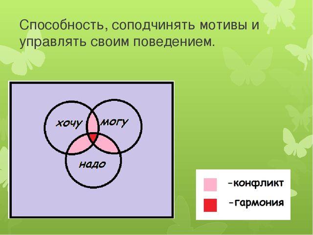 Способность, соподчинять мотивы и управлять своим поведением.