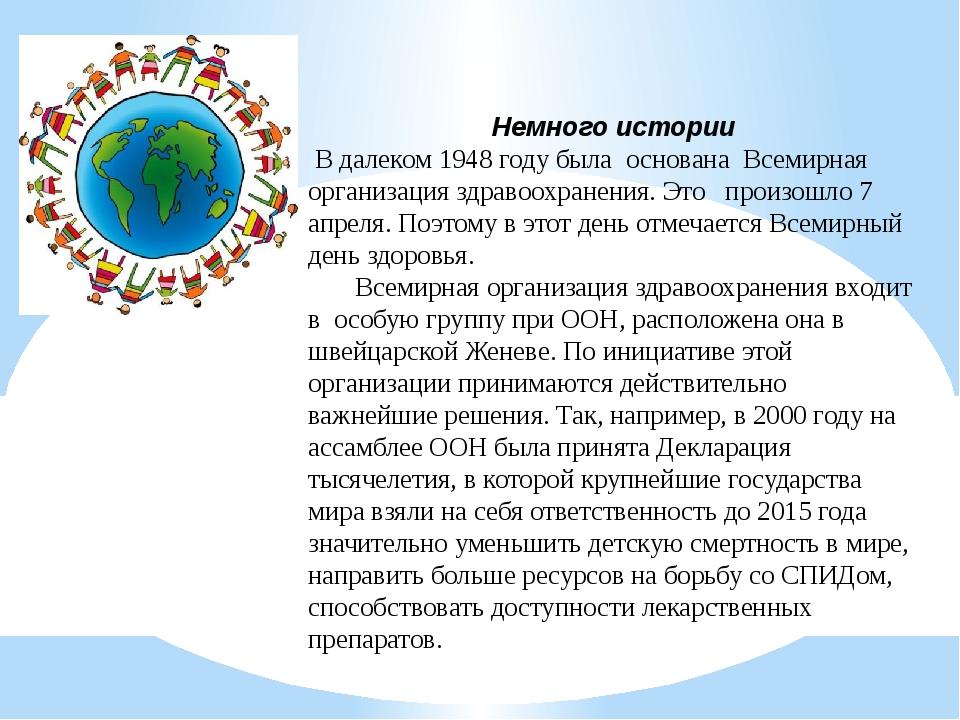 Немного истории В далеком 1948 году была основана Всемирная организация здра...