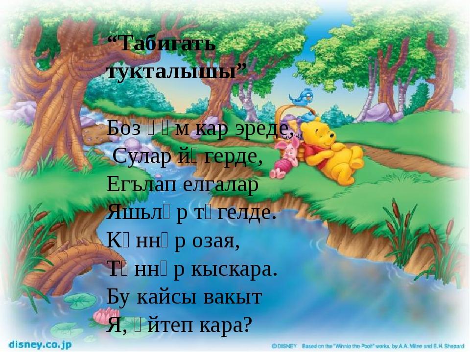 """""""Табигать тукталышы"""" Боз һәм кар эреде, Сулар йөгерде, Егълап елгалар Яшьләр..."""