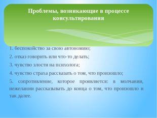 1. беспокойство за свою автономию; 2. отказ говорить или что-то делать; 3. ч