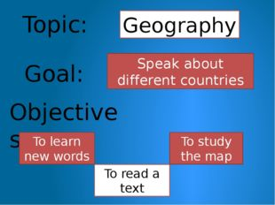 Topic: Geography Objectives: To learn new words To read a text Goal: Speak ab