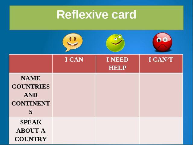 Reflexive card ICAN I NEED HELP I CAN'T NAME COUNTRIES AND CONTINENTS SPEAKAB...