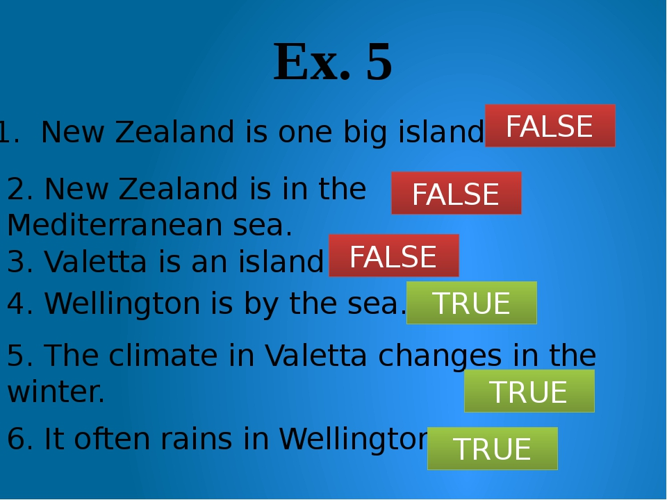 Ex. 5 1. New Zealand is one big island. 2. New Zealand is in the Mediterranea...
