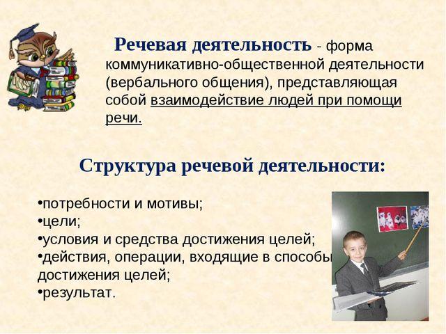 Речевая деятельность - форма коммуникативно-общественной деятельности (вербал...