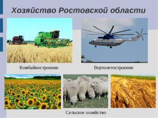 Хозяйство Ростовской области Комбайностроение Вертолетостроение Сельское хозя