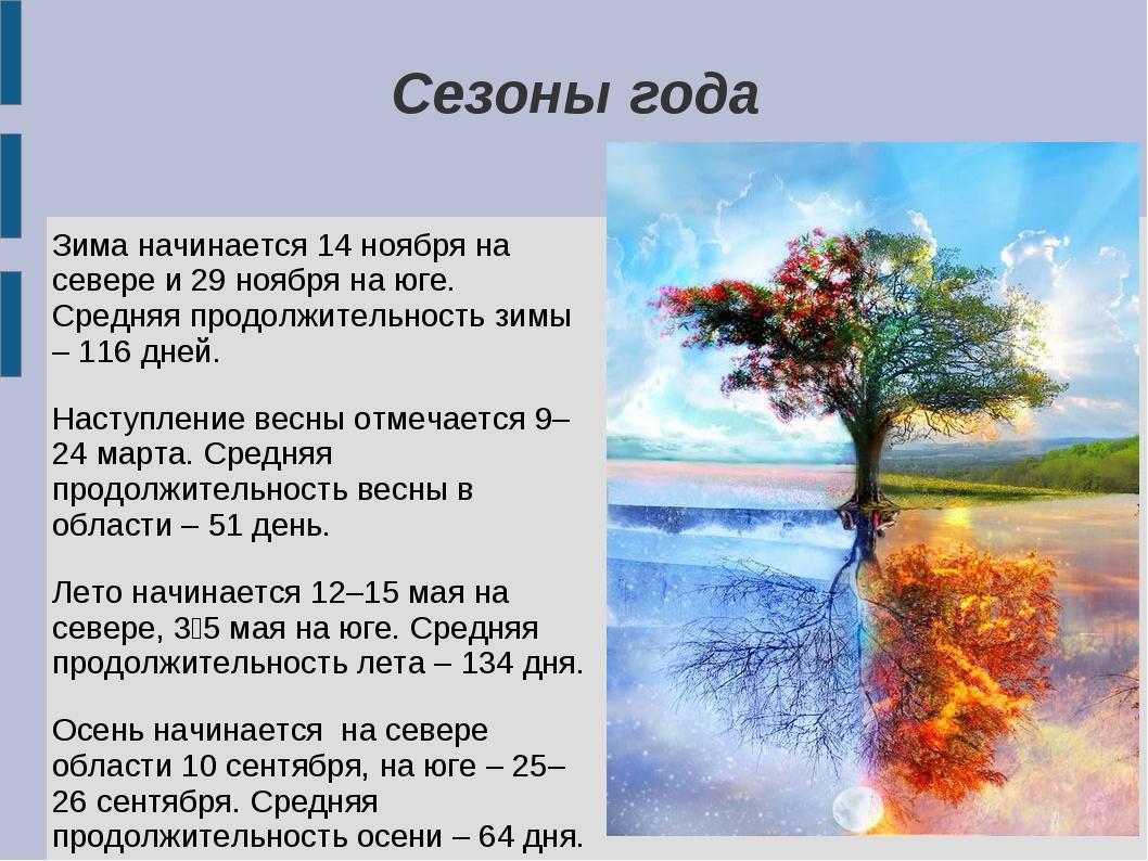 Сезоны года Зима начинается 14 ноября на севере и 29 ноября на юге. Средняя п...