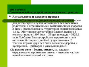 Тема проекта: «Озеленение и благоустройство пришкольного участка» Актуальност
