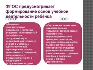 ФГОС предусматривает формирование основ учебной деятельности ребёнка НОО: ООО