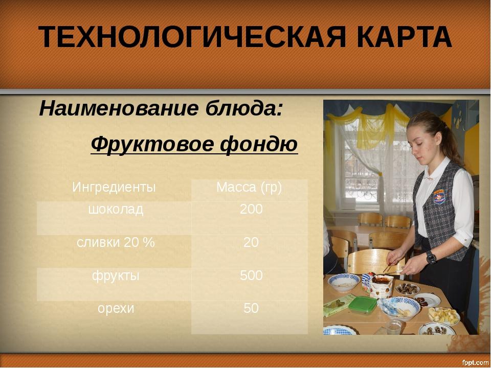 ТЕХНОЛОГИЧЕСКАЯ КАРТА Наименование блюда: Фруктовое фондю Ингредиенты Масса (...