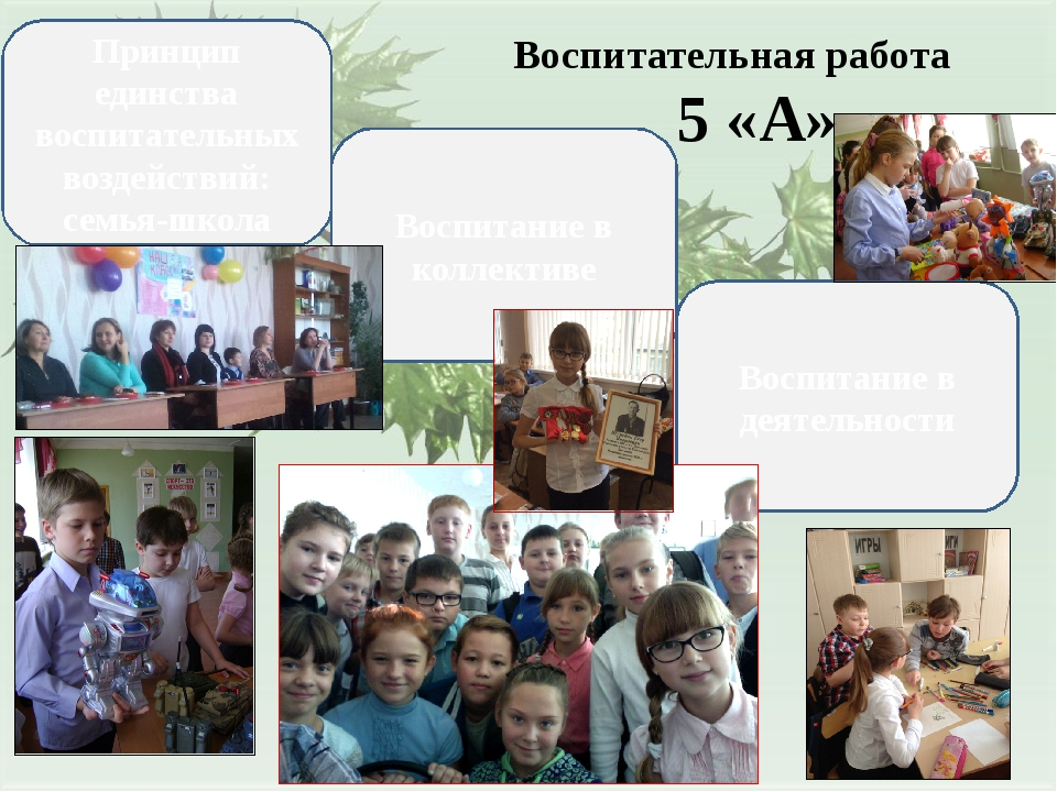 Воспитательная работа 5 «А» Воспитание в деятельности Воспитание в коллективе...
