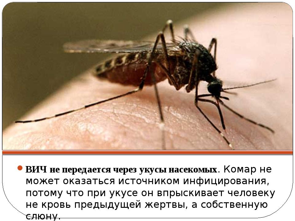 ВИЧ не передается через укусы насекомых. Комар не может оказаться источником...