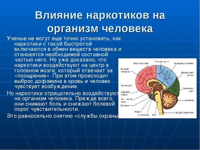 Влияние наркотиков на организм человека Ученые не могут еще точно установить,...