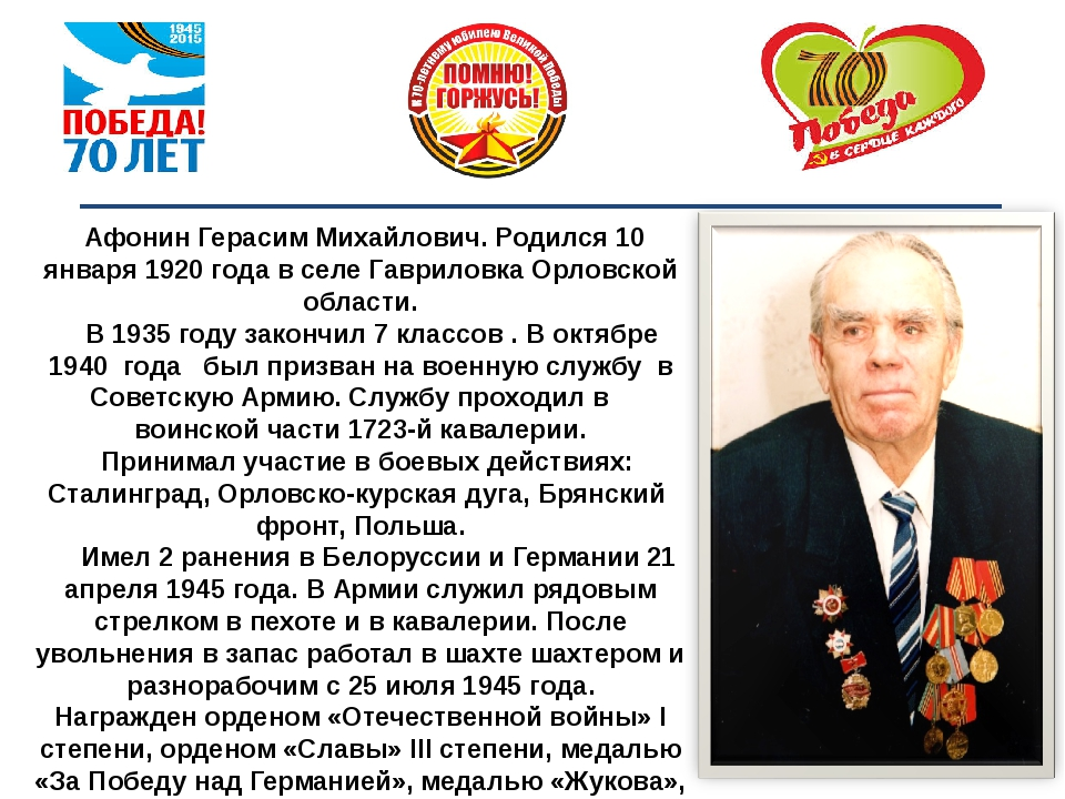 Афонин Герасим Михайлович. Родился 10 января 1920 года в селе Гавриловка Ор...