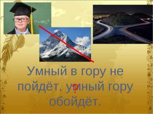 Умный в гору не пойдёт, умный гору обойдёт. ?