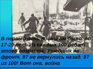 В первый день войны им было по 17-20 лет. Из каждых 100 ребят этого возраста.