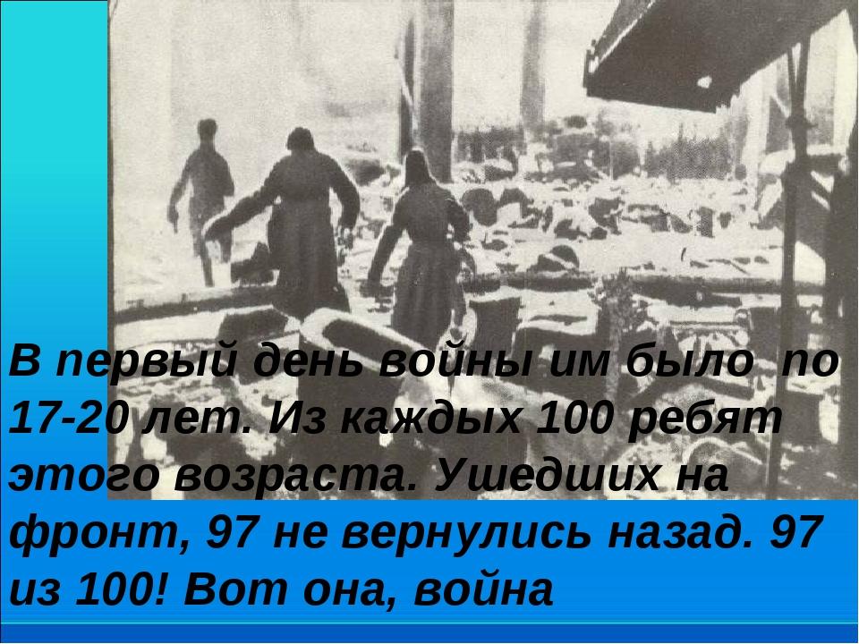 В первый день войны им было по 17-20 лет. Из каждых 100 ребят этого возраста....