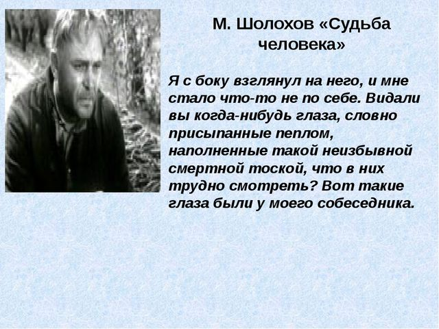М. Шолохов «Судьба человека» Я с боку взглянул на него, и мне стало что-то не...