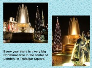 Every year there is a very big Christmas tree in the centre of London, in Tra