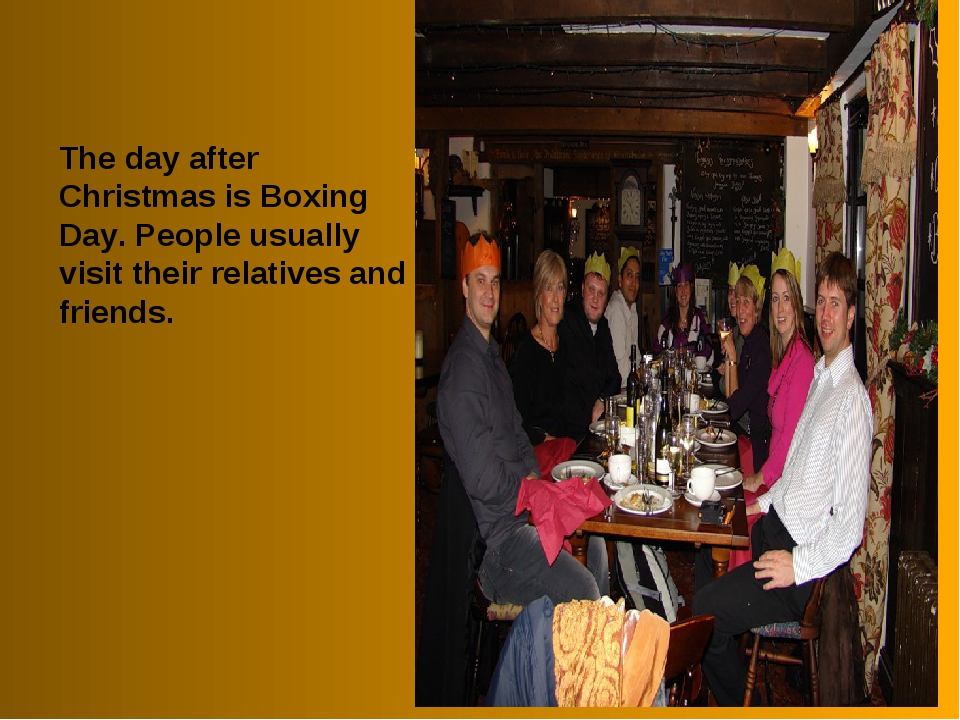 The day after Christmas is Boxing Day. People usually visit their relatives a...