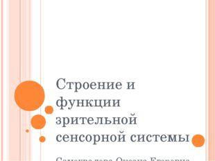 Строение и функции зрительной сенсорной системы Самохвалова Оксана Егоровна
