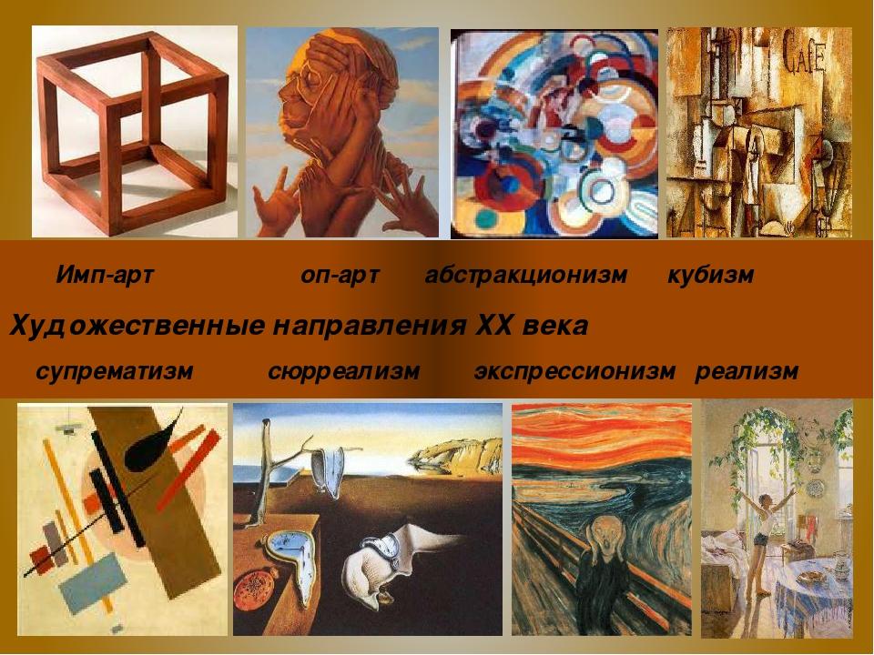 Имп-арт оп-арт абстракционизм кубизм Художественные направления ХХ века супр...