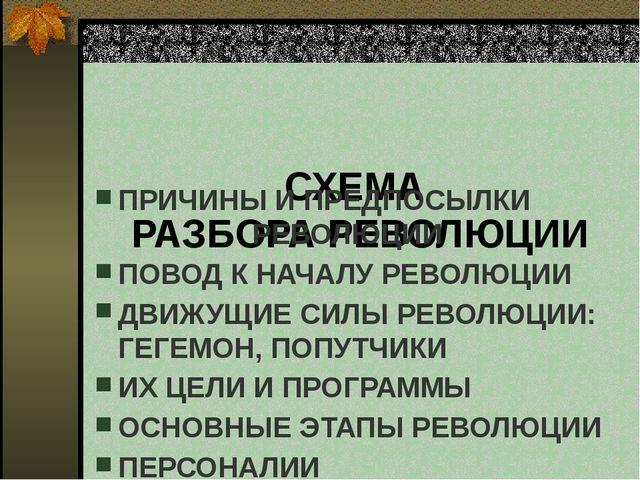 СХЕМА РАЗБОРА РЕВОЛЮЦИИ  ПРИЧИНЫ И ПРЕДПОСЫЛКИ РЕВОЛЮЦИИ ПОВОД К НАЧАЛУ РЕВ...