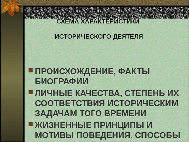 СХЕМА ХАРАКТЕРИСТИКИ  ИСТОРИЧЕСКОГО ДЕЯТЕЛЯ ПРОИСХОЖДЕНИЕ, ФАКТЫ БИОГРАФИИ Л...