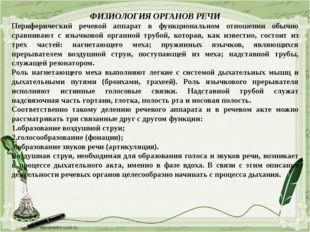 ФИЗИОЛОГИЯ ОРГАНОВ РЕЧИ Периферический речевой аппарат в функциональном отнош