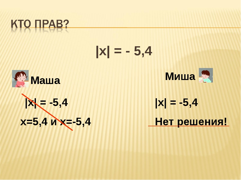|x| = - 5,4 Маша Миша |x| = -5,4 х=5,4 и х=-5,4 |x| = -5,4 Нет решения!