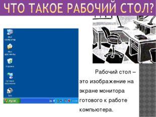 Рабочий стол – это изображение на экране монитора готового к работе компьюте