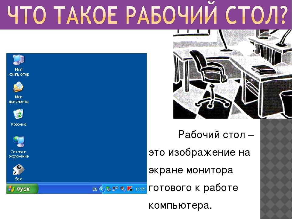 Рабочий стол – это изображение на экране монитора готового к работе компьюте...