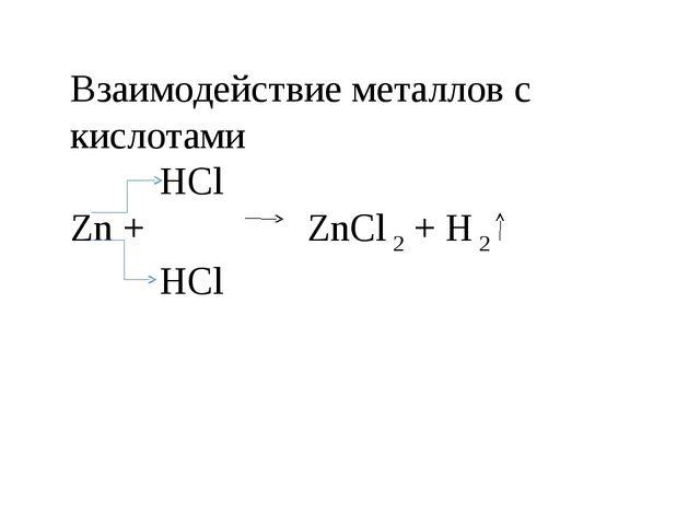 Взаимодействие металлов с кислотами  HCl Zn +  ZnCl 2 + H 2  HCl