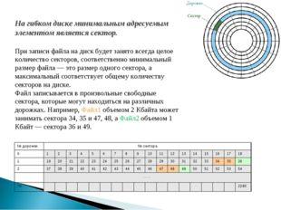На гибком диске минимальным адресуемым элементом является сектор. При записи