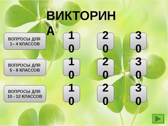 ВИКТОРИНА 20 10 10 10 ВОПРОСЫ ДЛЯ 1– 4 КЛАССОВ ВОПРОСЫ ДЛЯ 5 - 8 КЛАССОВ ВОПР...