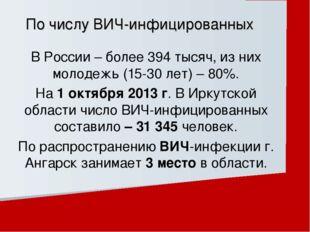 В России – более 394 тысяч, из них молодежь (15-30 лет) – 80%. На 1 октября 2