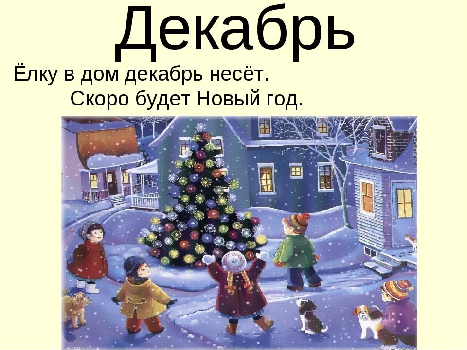 Декабрь Ёлку в дом декабрь несёт. Скоро будет Новый год.